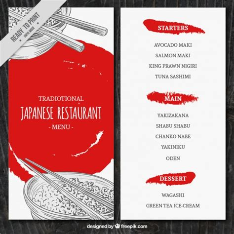 japanese menu template sketches japanese food menu template vector free