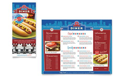 american diner restaurant take out brochure template design