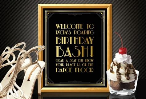 theme of belonging in the great gatsby printable customised the dance floor sign art deco style