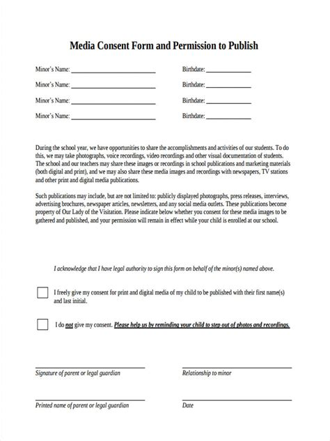 8 Media Consent Form Sles Free Sle Exle Format Download Media Release Form For Minors Template
