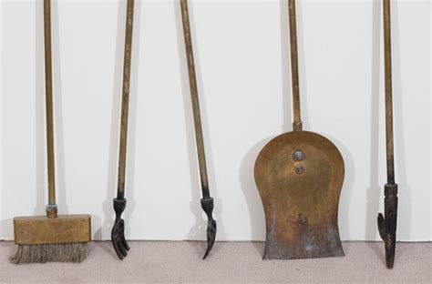 Horseshoe Fireplace Tool Set by Set Of 1950s Brass Fireplace Tools With Motif
