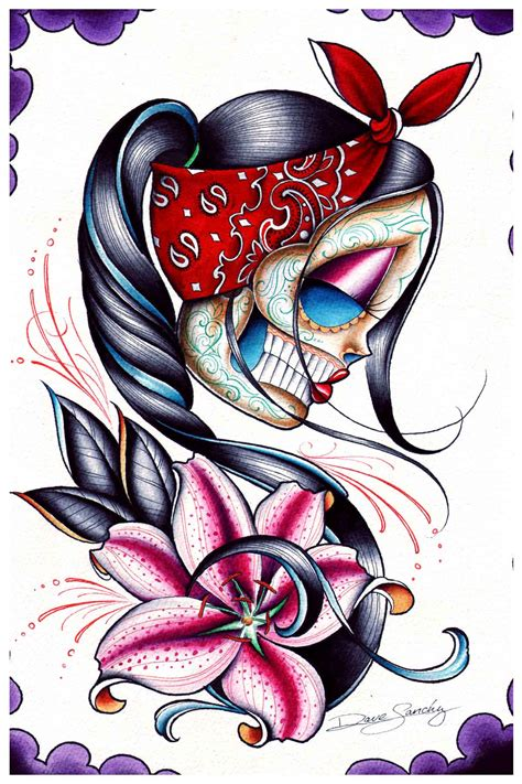 tattoo art prints gazer by dave low brow sugar skull