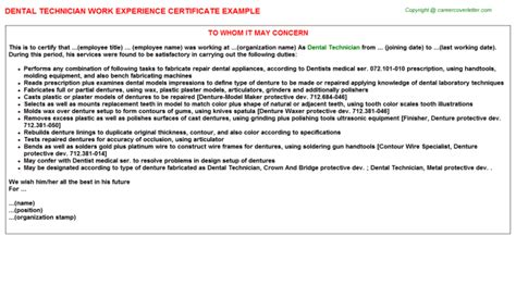 Letter For Work Experience In Dentistry Dental Technician Title