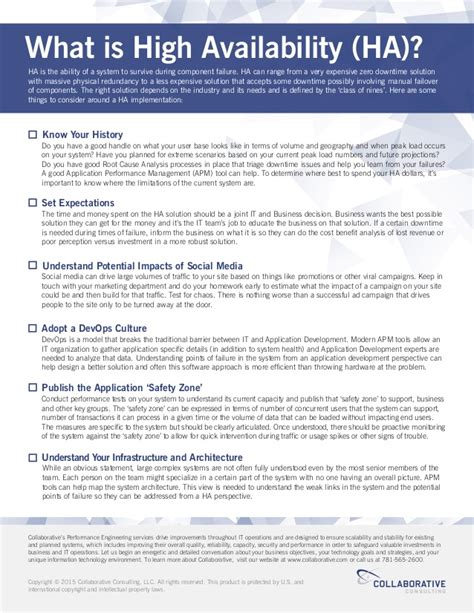 application design for high performance and availability considerations checklist what is high availability ha