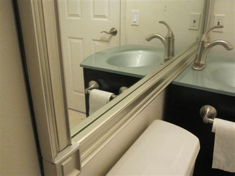 how to frame bathroom mirror with molding mirror molding in 45 minutes armchair builder blog