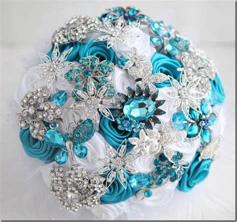 teal wedding colors teal wedding brooch bouquet teal turquoise and aqua