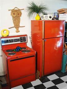 colored kitchen appliances poppy stove and refrigerator original colors