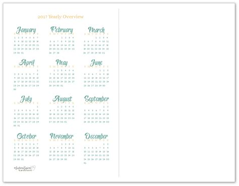 Year To A Page Calendar 2017 Printable 2017 Yearly Calendar Printables Are Here