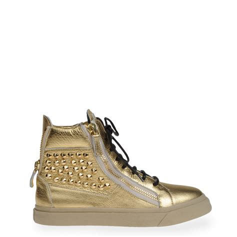 giuseppe zanotti sneakers womens giuseppe zanotti high top sneakers in gold colored