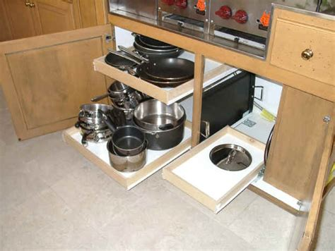how to make pull out drawers in kitchen cabinets picture of pull out kitchen drawer shelves