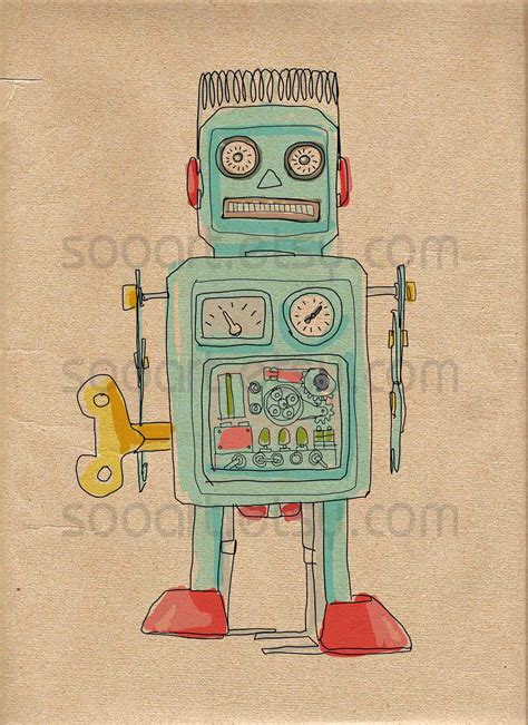 retro drawing pics for gt vintage robot drawing