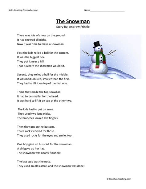 2nd grade reading worksheets reading comprehension worksheet the snowman