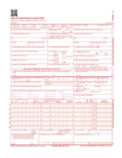 fillable cms 1500 template health insurance claim form 1500 fillable pdf free