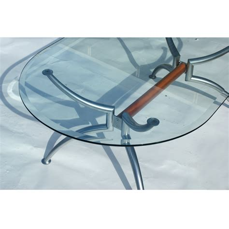 55 quot scandinavian oval steel glass coffee table