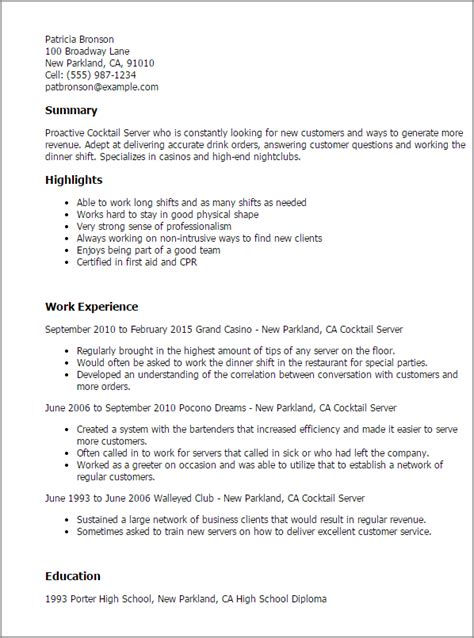 Cocktail Server Cover Letter by 1 Cocktail Server Resume Templates Try Them Now Myperfectresume