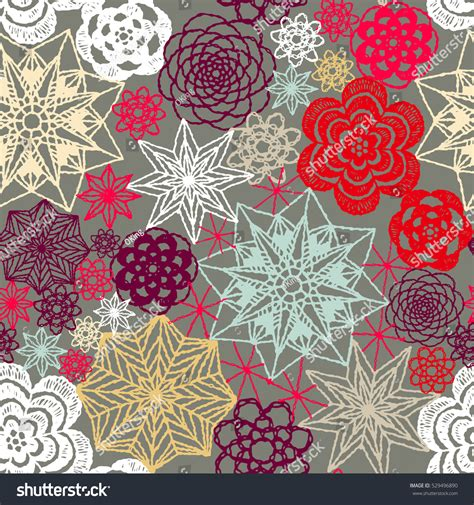 new year flower pattern vector seamless crochet flowers pattern new year stock vector