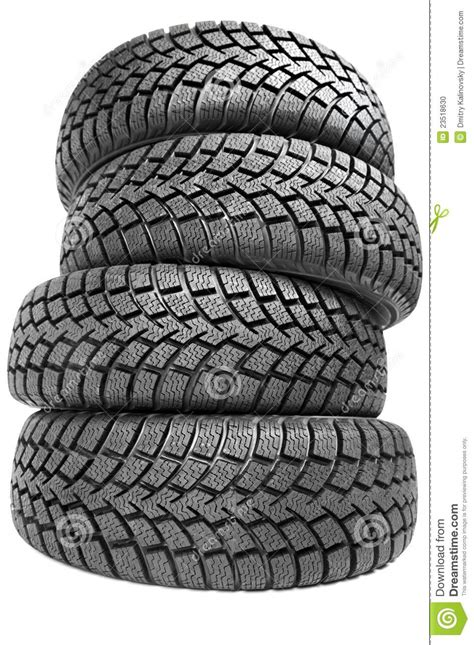 Stack Of Four Car Wheel Winter Tires Isolated Stock Photo
