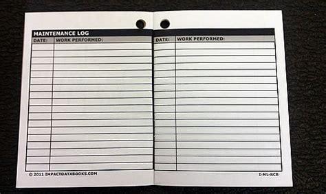 sle key log template maintenance log book