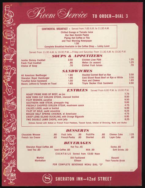room service card sheraton inn room service menu card new york city 1970