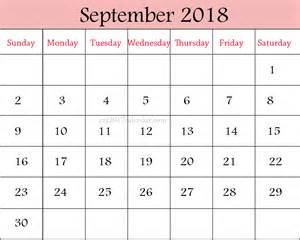Calendar 2018 September Printable Monthly Calendars