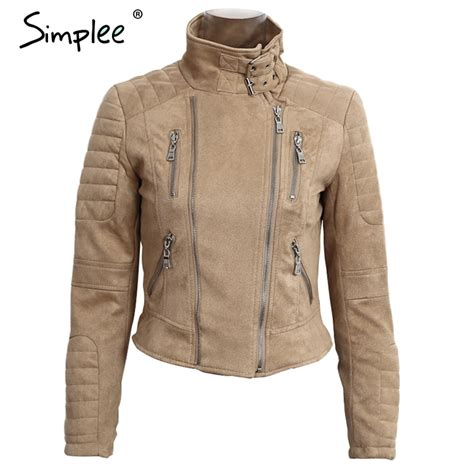 simplee faux leather suede outerwear coats slim basic jackets jacket coat