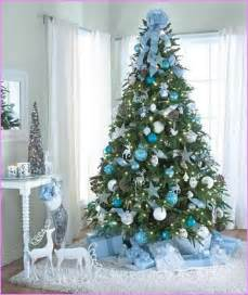 Pre Decorated Christmas Tree Blue And Gold Christmas Tree Decorations Designcorner