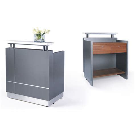 Small White Reception Desk Receptionist Small Reception Desk Counter Office Stock