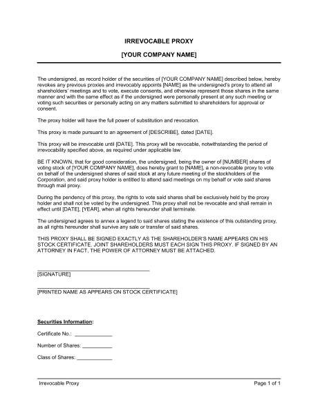 proxy irrevocable template sample form biztreecom