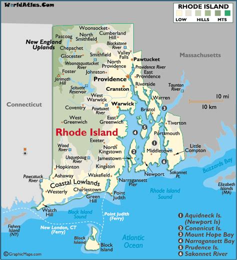 rhode island on map map of rhode island large color map