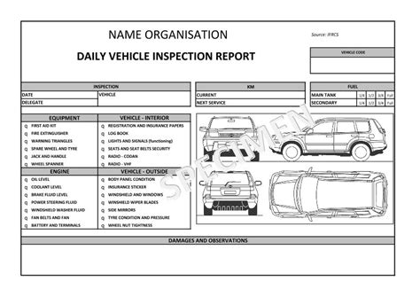 vehicle inspection report template vehicle damage report meal truck diagrams parts auto