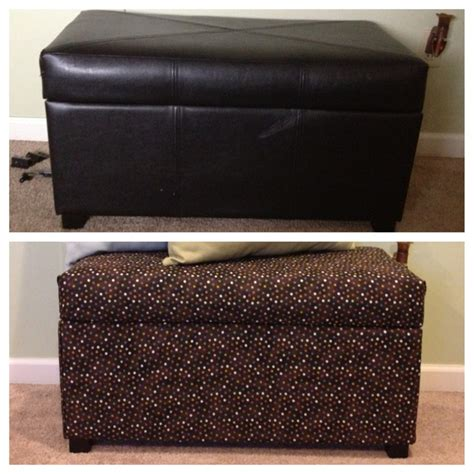 how to reupholster a storage ottoman reupholstered leather storage ottoman repurposing