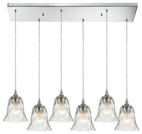 six light polished chrome multi light pendant tropical
