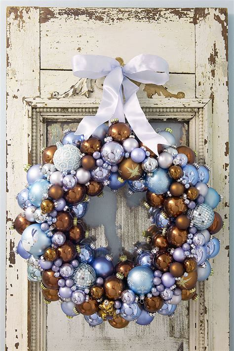make a stunning christmas wreath from old ornaments