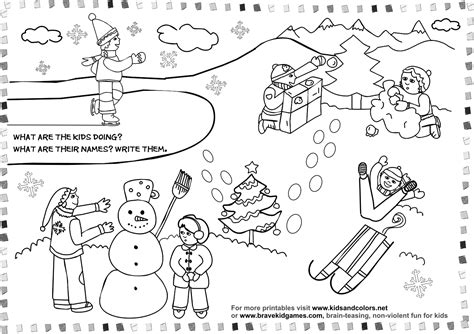 coloring pages about winter winter activity coloring pages images