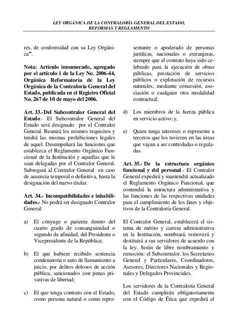 contralor general de la republica del ecuador ley organica de la contraloria general del estado ecuador