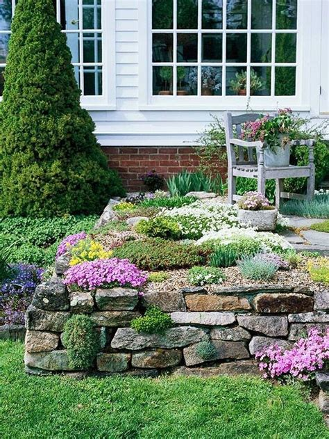 flower bed ideas front of house rustic flower beds with rocks in front of house ideas 23