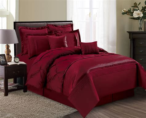 8 piece aubree pinched pleat burgundy comforter set