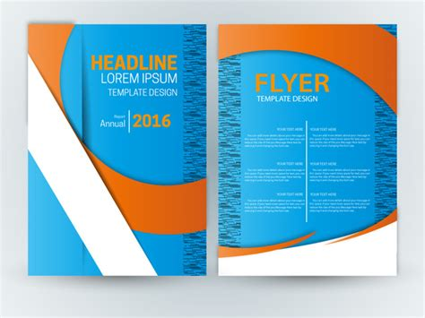 flyer template design with blue curve background free