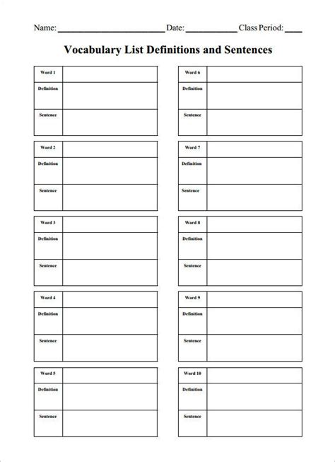 vocabulary words worksheet template 8 blank vocabulary worksheet templates free word pdf