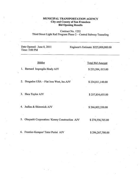 Contract Bidding Letter Contract 1252 Tunneling Bid Results Central Subway