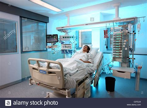 aiir room intensive care unit in a hospital a patient is connected to stock photo royalty free image