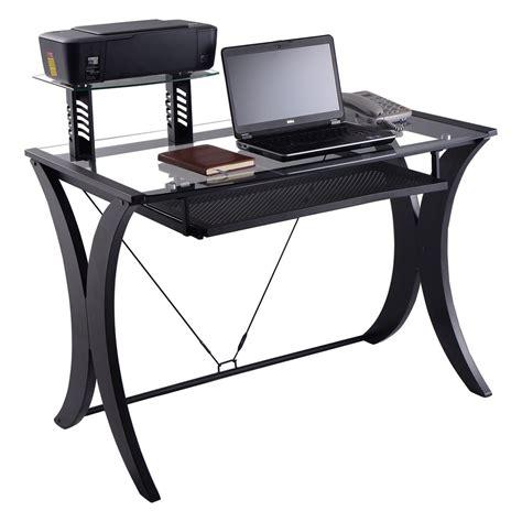 computer desk pc laptop table glass top  printer shelf workstation home office ebay
