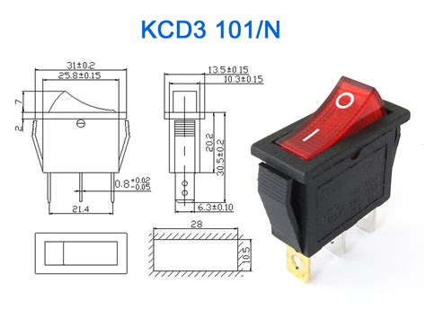 1pc kcd3 red button on off 3pin dpst boat car rocker