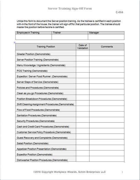 Restaurant Server Training Checklist Workplace Wizards Consulting Restaurant Server Checklist Template