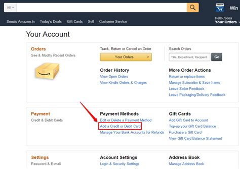 amazon your account how to manage the credit debit cards associated with your