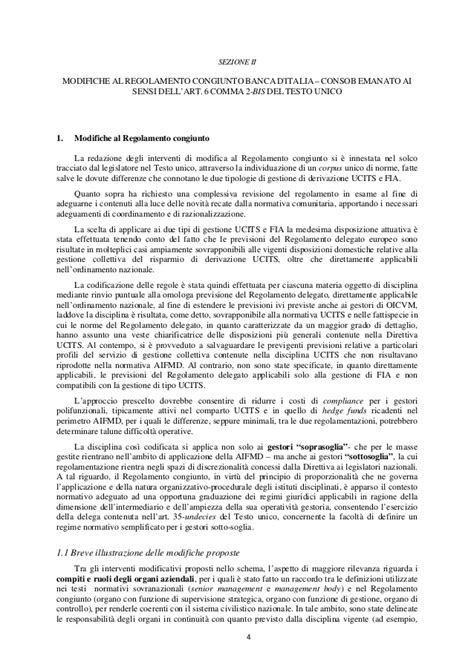regolamento banca d italia aifmd comunicazione consob banca d italia