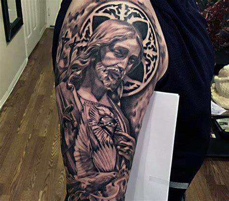 tattoovorlagen jesus mens sleeves religious jesus with sparkling stone tattoo