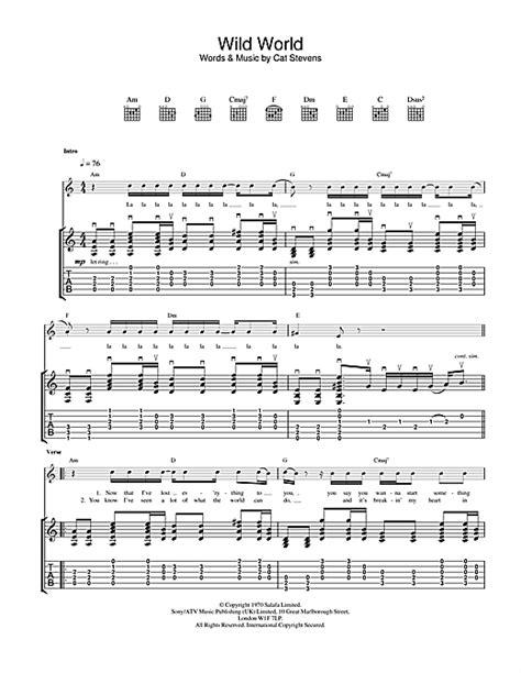 tutorial guitar wild world wild world tablature guitare par cat stevens tablature