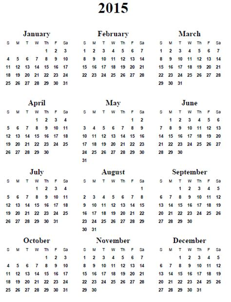 Printable 2015 Calendar Yearly Calendar 2015 Printable Kiddo Shelter