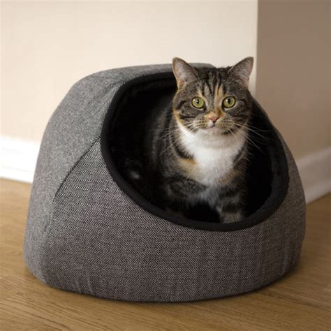 hooded cat bed rosewood grey tweed hooded cat bed from 163 24 99